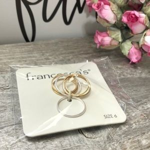 Francesca's Size 6 Gold & Silver Tone Ring Set NWT